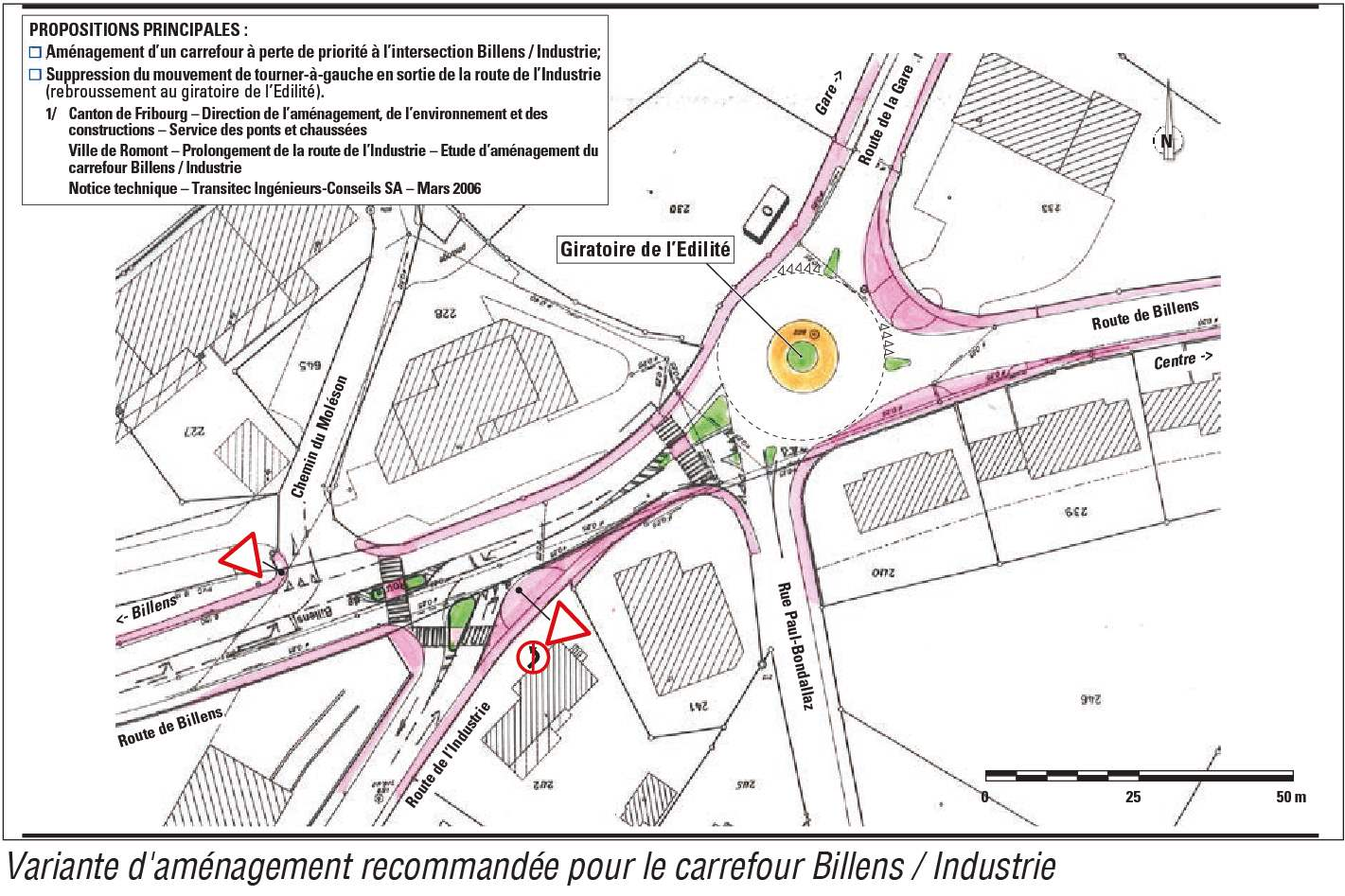Prolongement de la route de l'Industrie – Carrefour Billens / Industrie – Etude de circulation