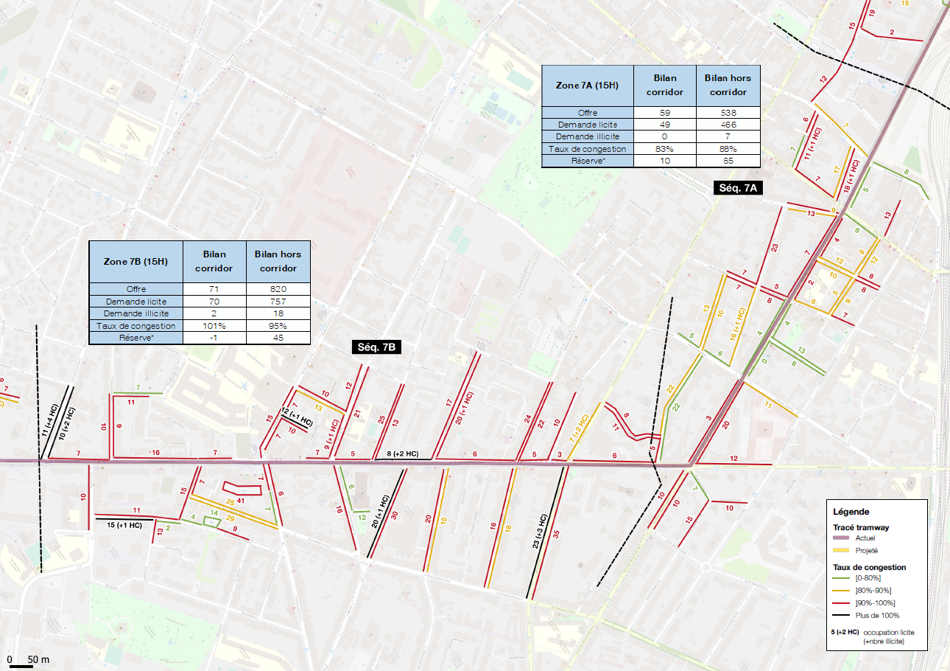 Exemple d'analyse de bilan stationnement le long du corridor tramway, en situation actuelle